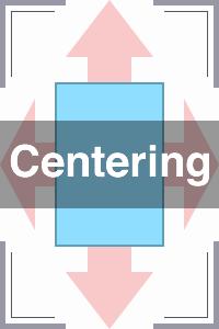 左右天地方向(ウィンドウ表示域)の中央にコンテンツを配置する