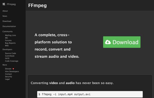 ffmpegで動画ファイルのフォーマット変換やエンコードを行う