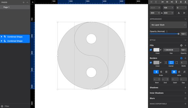 Sketchで陰陽太極図のマークを描いてみる